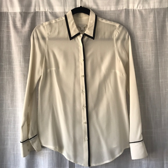 0dd7c5d46d325f J. Crew Tops | J Crew White Silk Blouse With Black Trim | Poshmark
